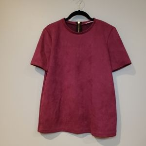 Zara Faux Suede Zip Back Shirt Size Medium